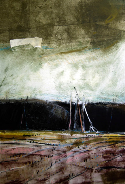 Kate McGlaughlin, Gill's Farm III, monotype-collage