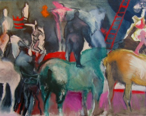 Leslie Bender. Black Circus, oil on unstretched canvas. Photo courtesy ASFA