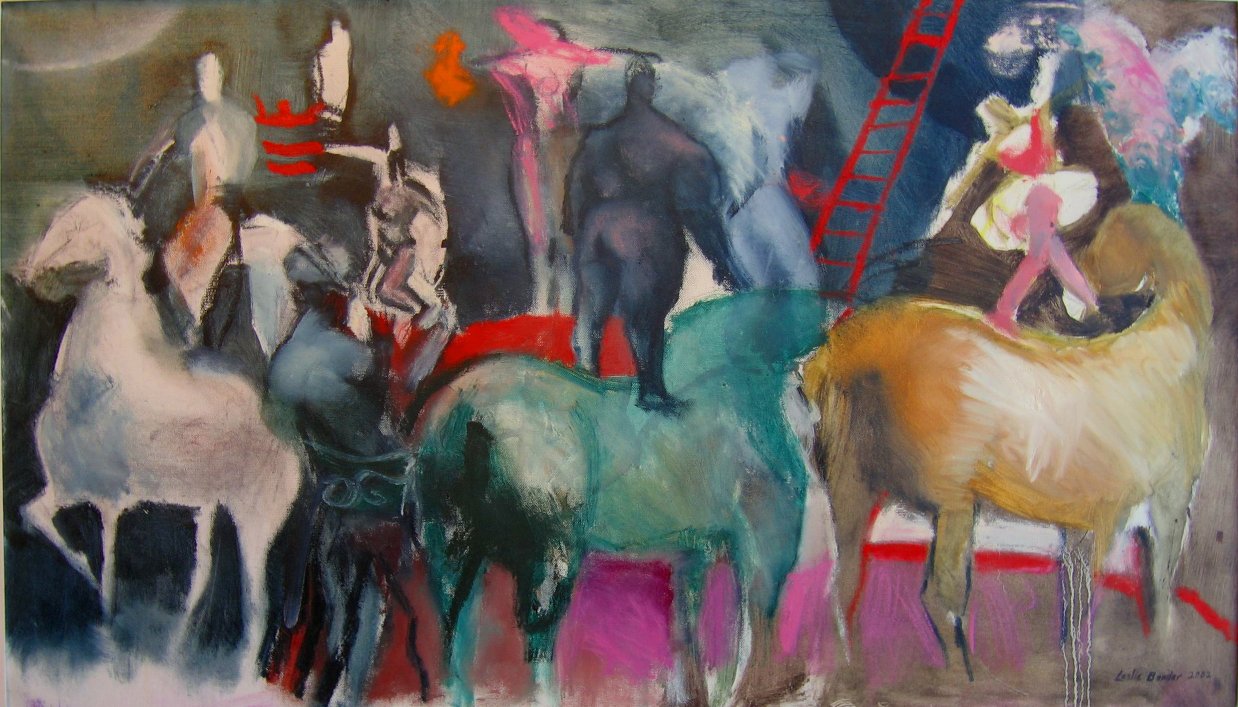 Leslie Bender- Black Circus, oil on unstretched canvas. Photo courtesy ASFA