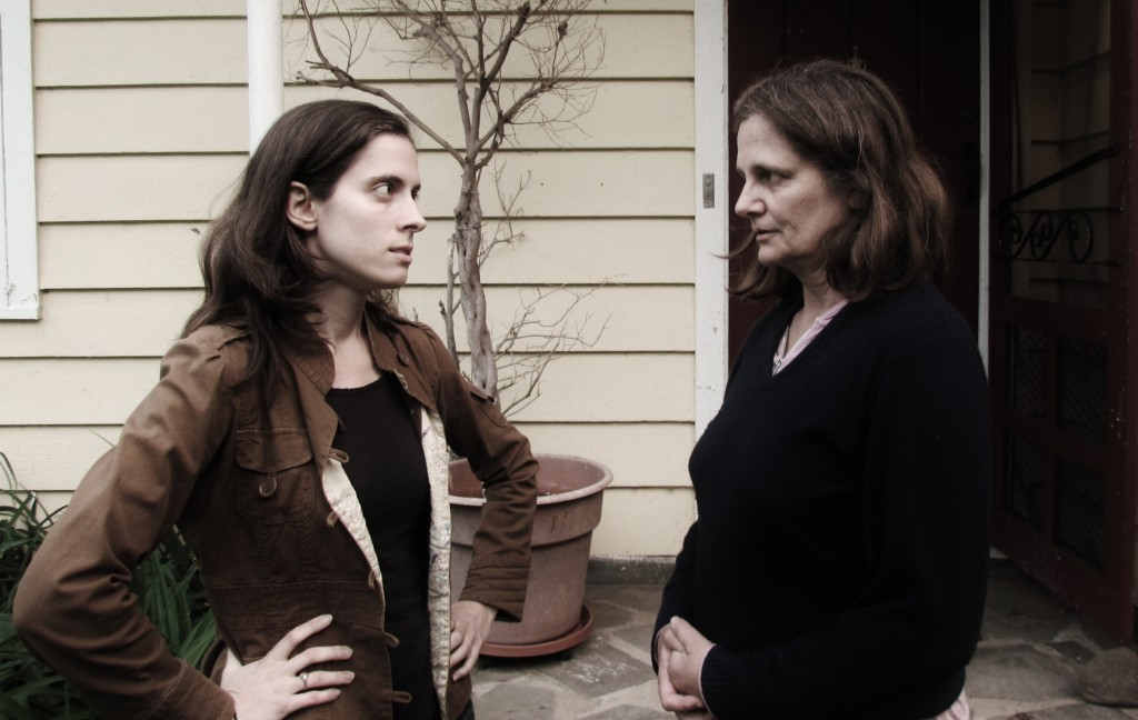 Holly Graff as Anna and Violet Snow as Violet Thorn in rehearsal