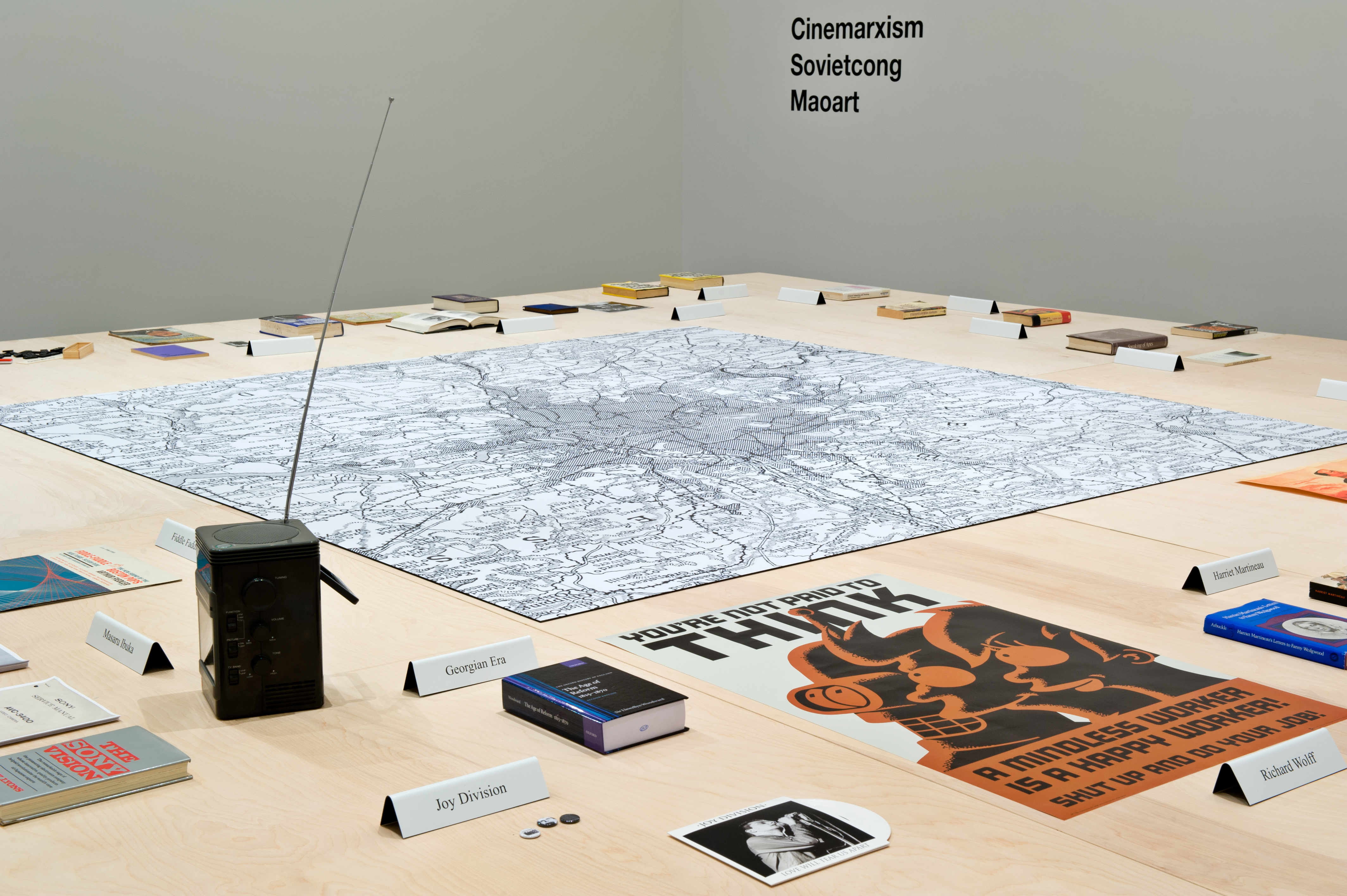 Liam Gillick Prototype Erasmus Table 2 (Gent), 1994 Installation view of From 199A to 199B : Liam Gillick, Hessel Museum of Art, 2012, Chris Kendall Photographer