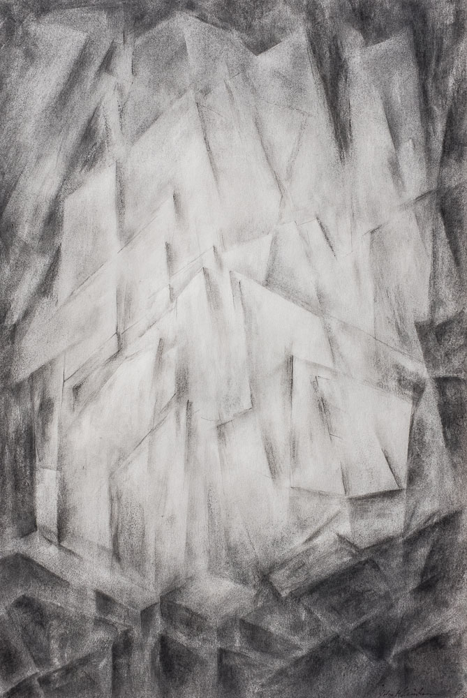 Refractions. Charcoal on paper. 17 x 11.5