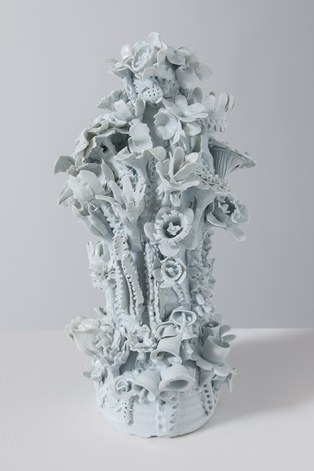 Lamp Base Sculpture, Flower Style (Small) #1, 2012 glazed porcelain