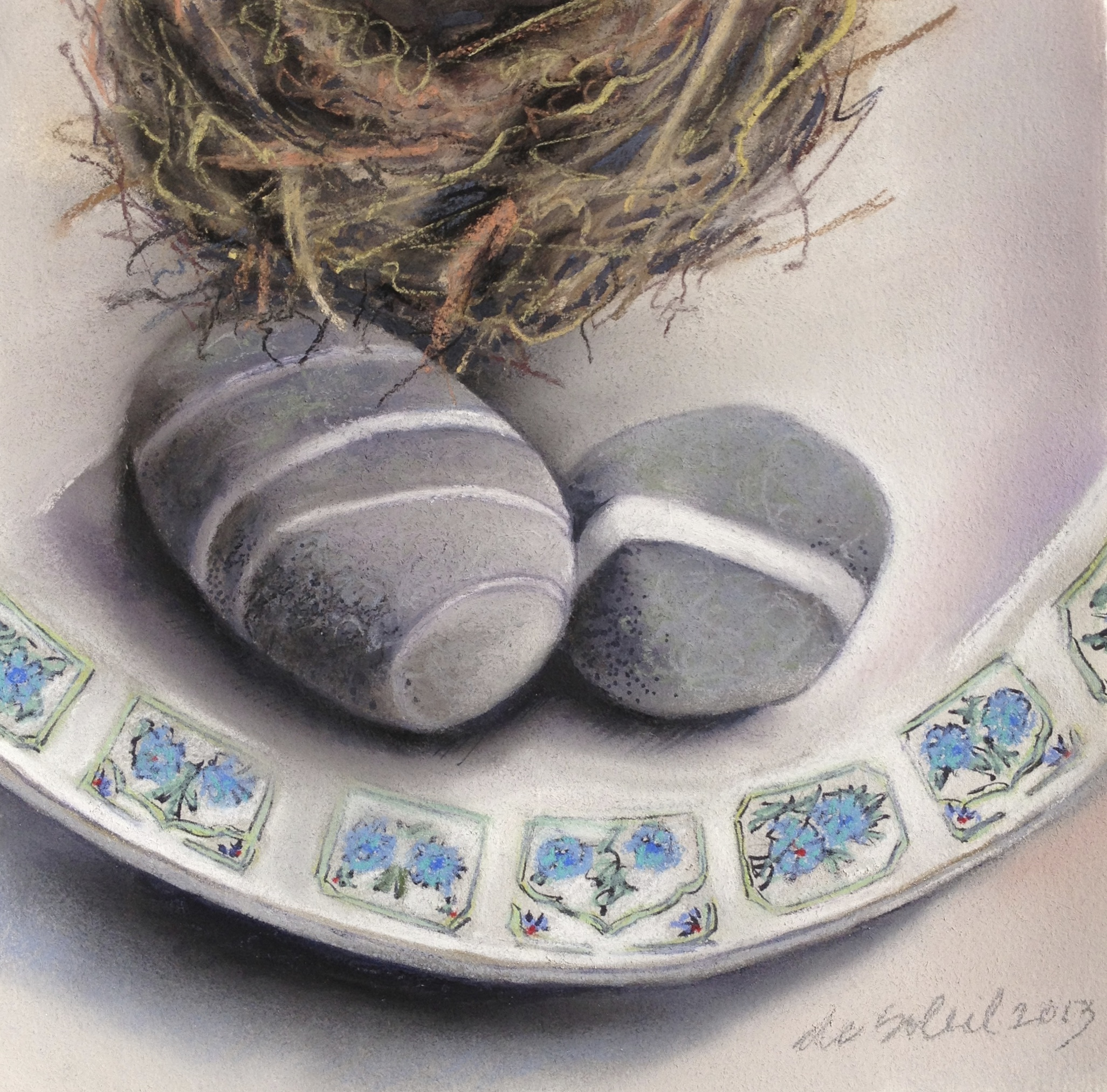 Margaret de Soleil, One Nest, Two Stones (Blue Plate), 2013