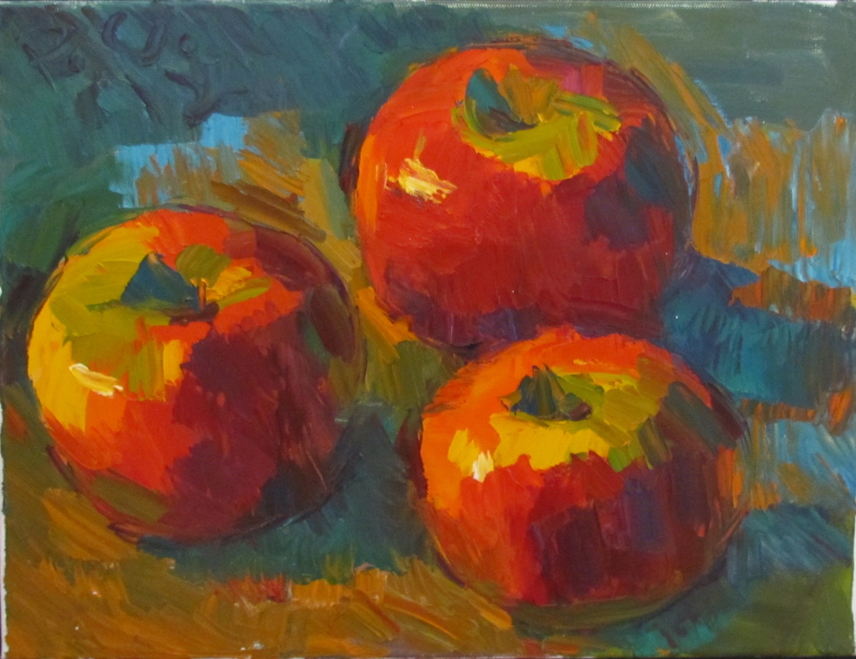 7b. Peter Clapper, 3 Apples, 2014, 9 x 12, oil on canvas