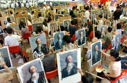 Art-making factory in China, photo by anonymous