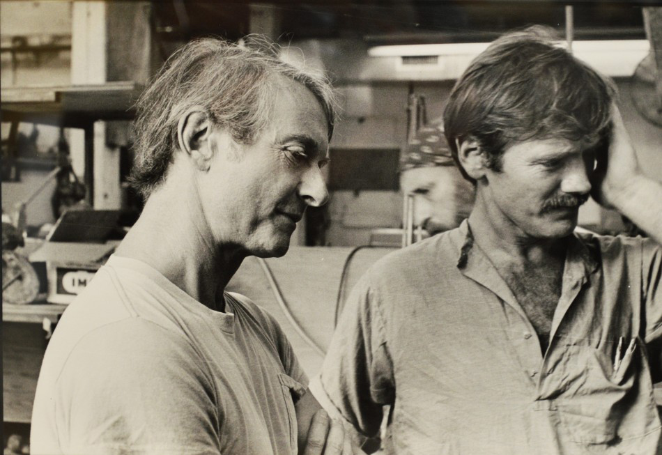 Kenneth Tyler, Roy Lichtenstein and Dick Polich at the Tallix Foundry, 1977