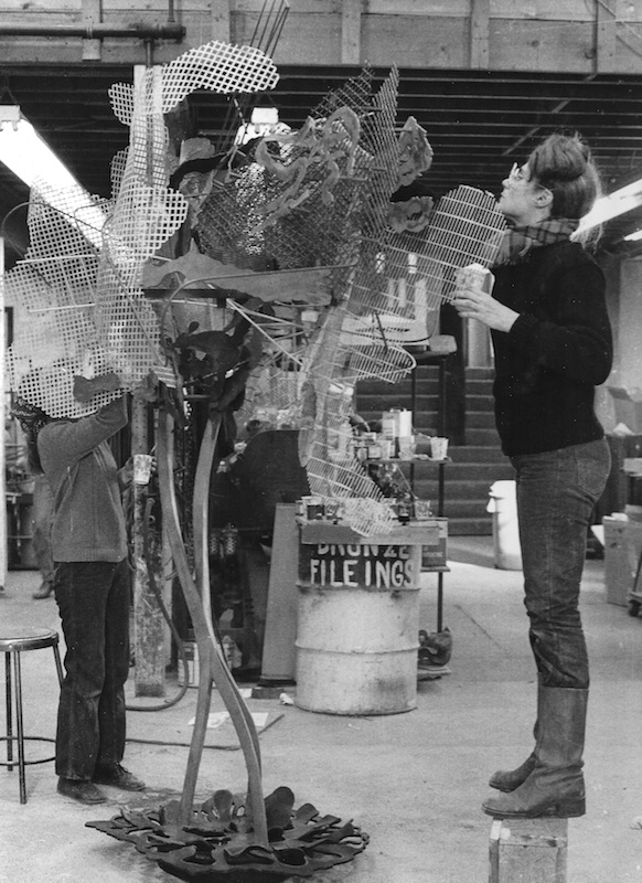 Nancy Graves working on Trace at Tallix, c. 1980