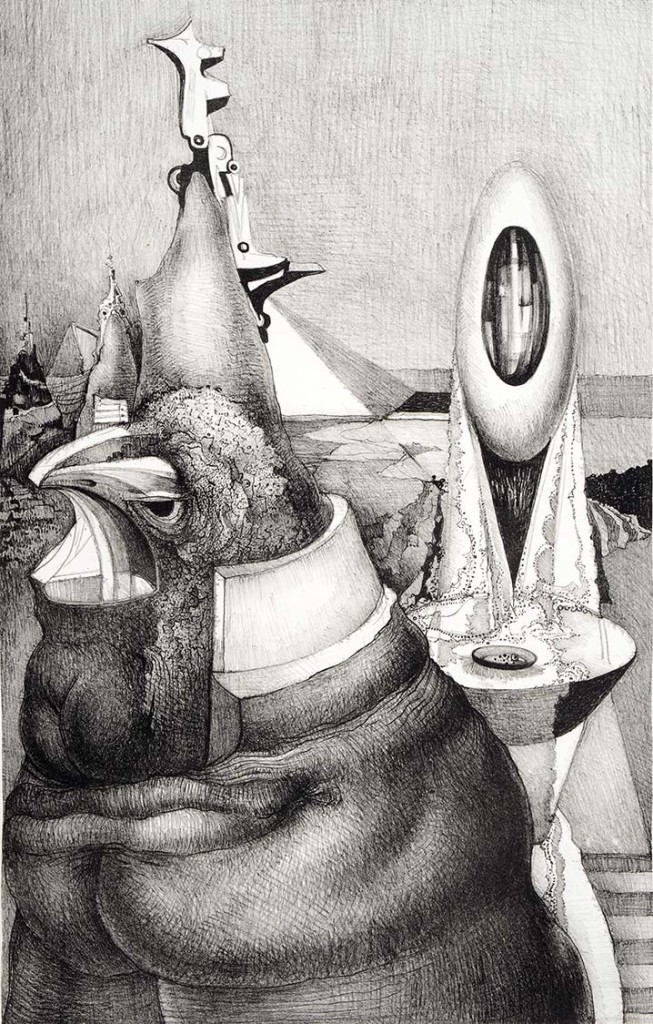 Theodore Roszak, Rooster and Egg, 1974. Lithograph on paper, 27 x 19""