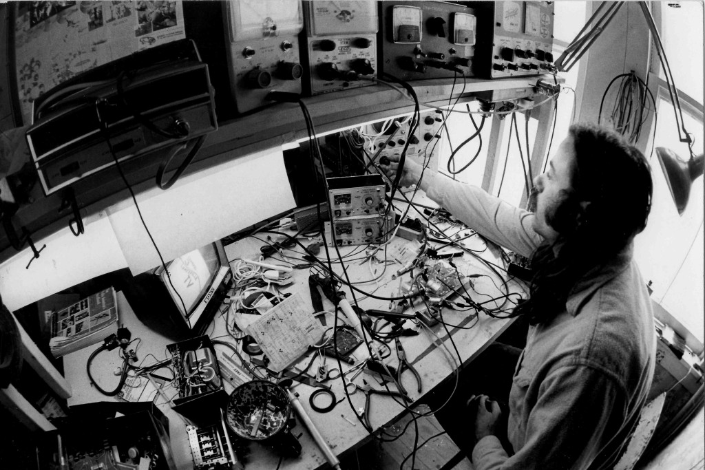 Chuck Kennedy at his work bench - 1973: Photo by John Dominis