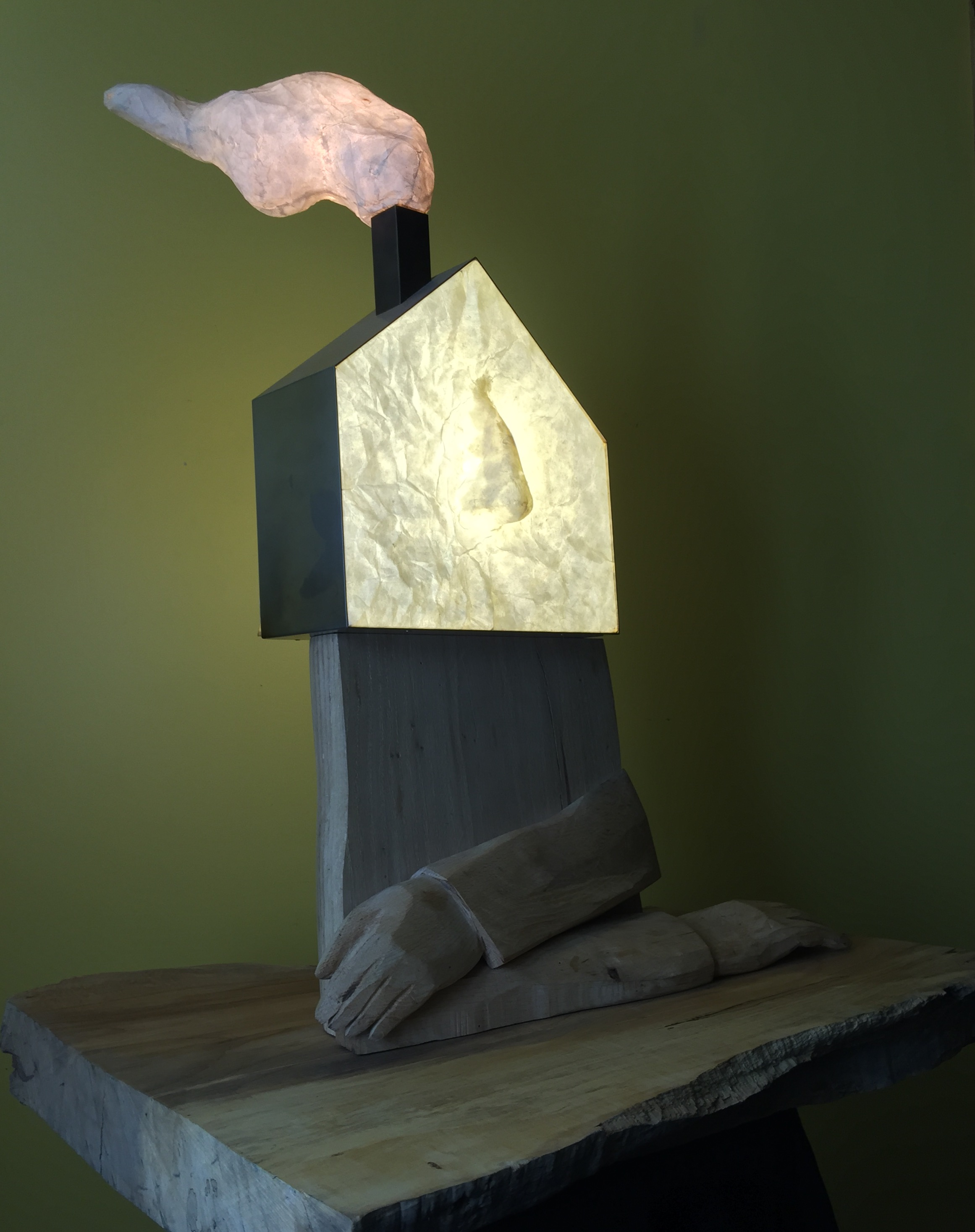 """Head of the House"" - wood, rice paper, stainless steel, light fixture -  2013 - by Kazuma Oshita"
