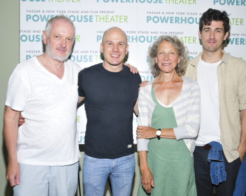 L to R: Sean Mathias (director); Keith Bunin (Playwright); Beth Dixon Actress); Carter Hudson (Actor) - Photo courtesy of Vassar & New York Stage and Film's Powerhouse Theater