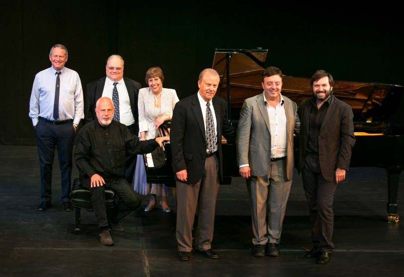 The PianoSummer faculty - (l to r) Paul Ostrovsky, Robert Roux, Susan Starr, Robert Hamilton, Phillip Kawin, Alexander Korsantia and Vladimir Feltsman (seated).