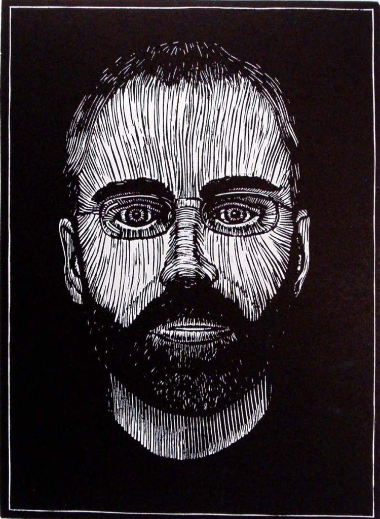 "Mark Ciocca, ""Self Portrait – woodcut"
