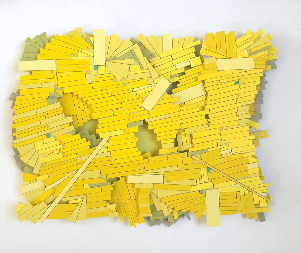 Ruby Palmer. Yellows, 2016, Acrylic on basswood on luan plywood support, 15 x 12