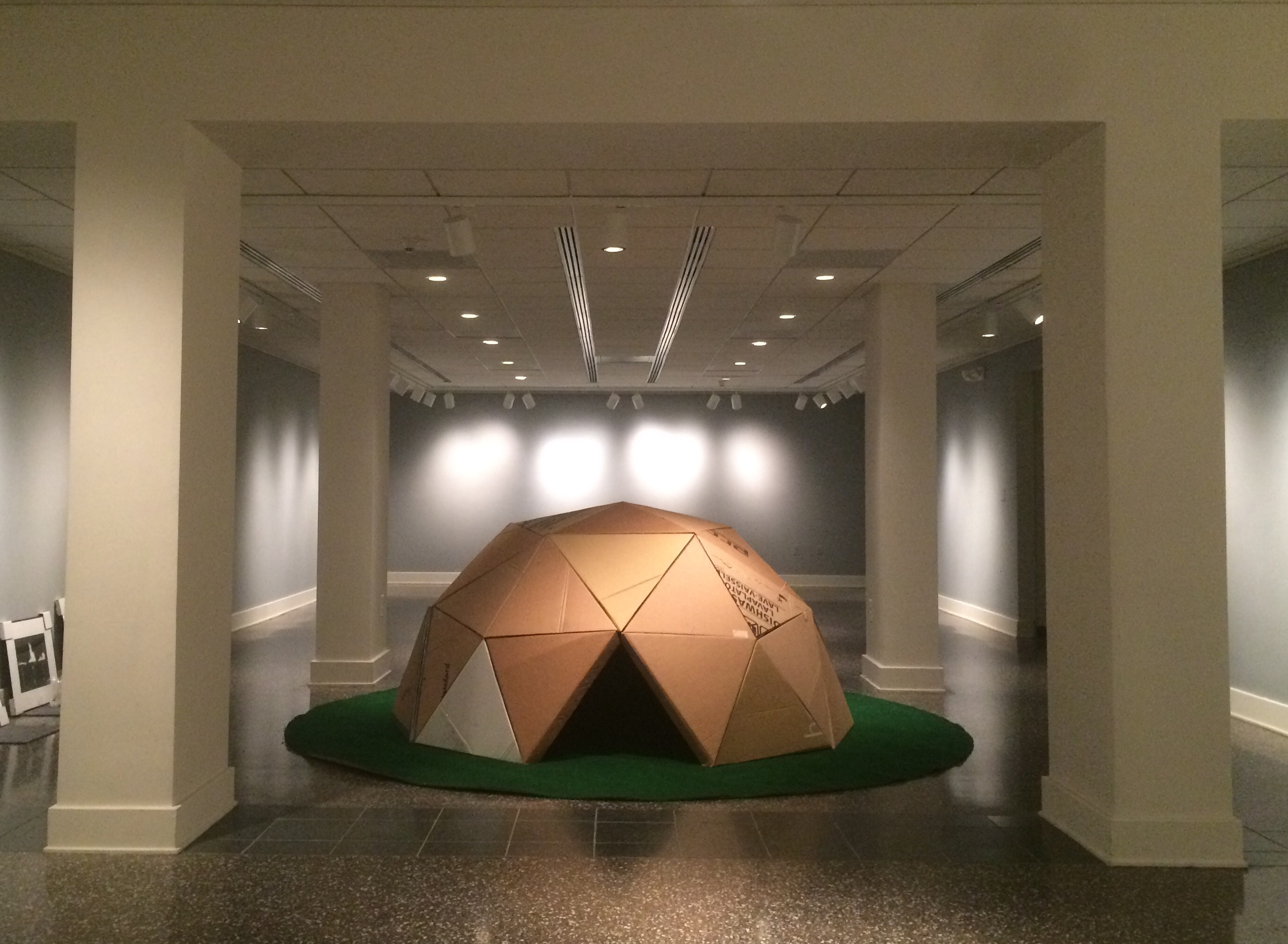 "Thomas Lail, ""Dome II"", 2011 – 2014. Found cardboard, hardware, carpet. 48 x 96 x 96"