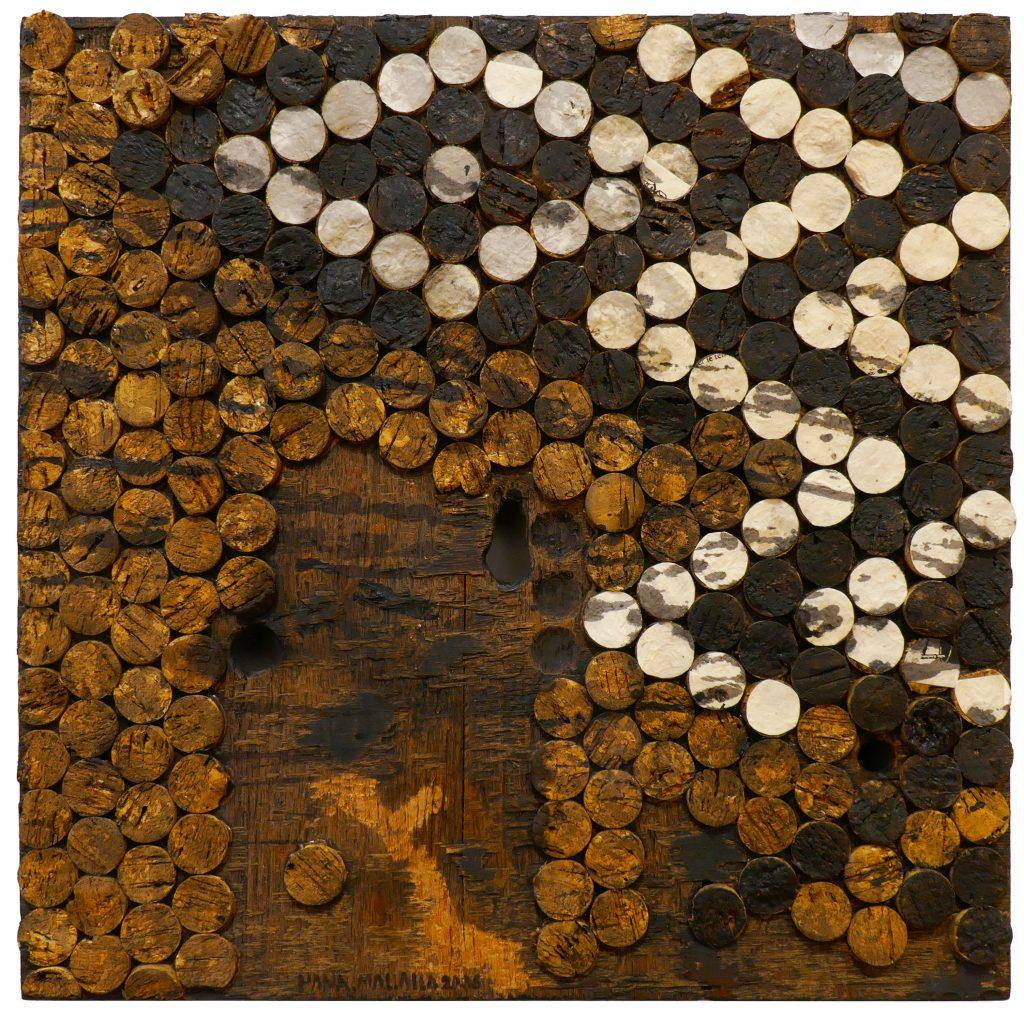 Hanaa Malallah (b. 1958, thee Qar, Iraq), Uruk Wall, 2006 Mixed media on carved wood, 15 ½ x 15 ½ in.