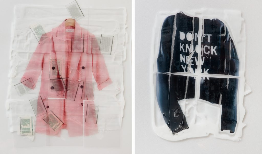 Sara Greenberger Rafferty, Jokes on You (detail), 2016 Acrylic polymer and inkjet prints on acetate on Plexiglas, and hardware Courtesty the artest and Rachel Uffner Gallery, Photo: JSP Photography