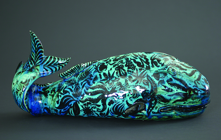 Carl Walters, Whale, 1927  Glazed earthenware, 7.5 x 17.25 x 7.75 in. Private collection, courtesy Conner – Rosenkranz, N.Y.