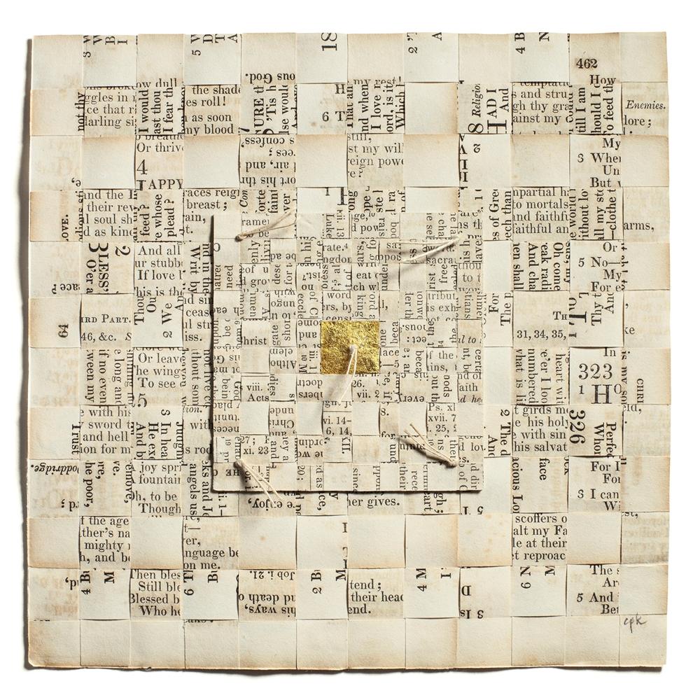 "Carole Kunstadt, ""Sacred Poem XXXIII,"" 2012, linen thread, 24-karat gold leaf, paper: pages from Parish Psalmody dated 1844, 6"" x 6"""