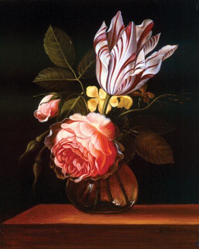 Floral-Still-Life-after-Jacob-Marrel-Oil-on-Wood-11x9