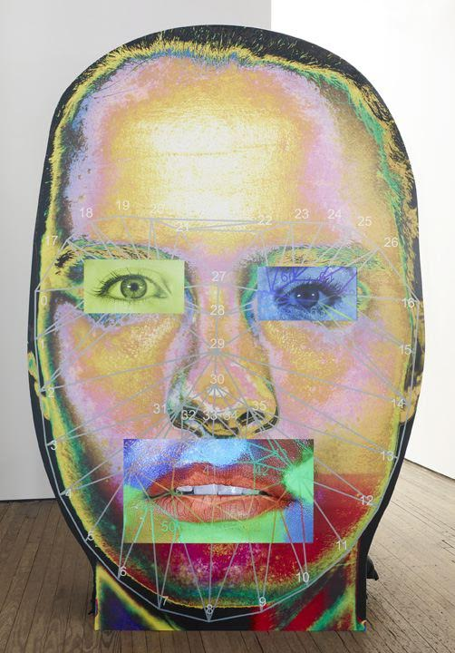 Tony Oursler, #ISO, 2015. Wood, graphic, video, dimensions approx. 60 x 40 inches. Image courtesy the artist and Lehmann Maupin, New York and Hong Kong. (Photograph by Elizabeth Bernstein)