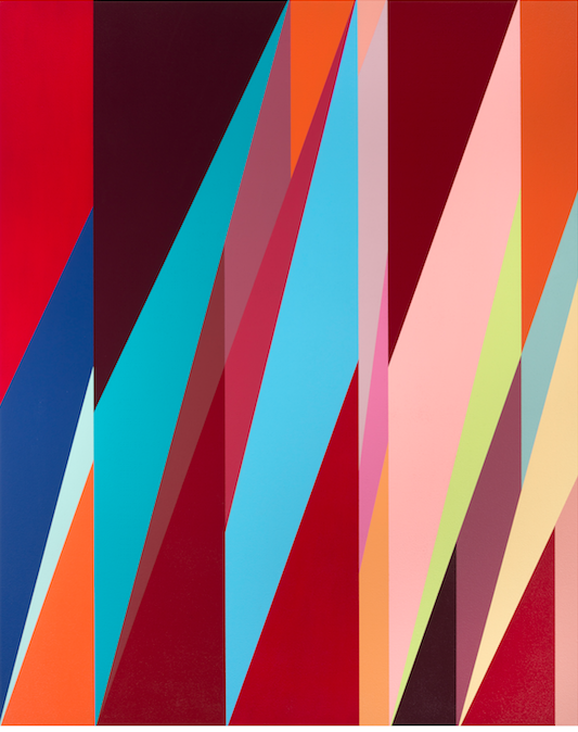 Odili Donald Odita, Metropolitan, 2015, acrylic on canvas, courtesy the artist and Jack Shainman Gallery