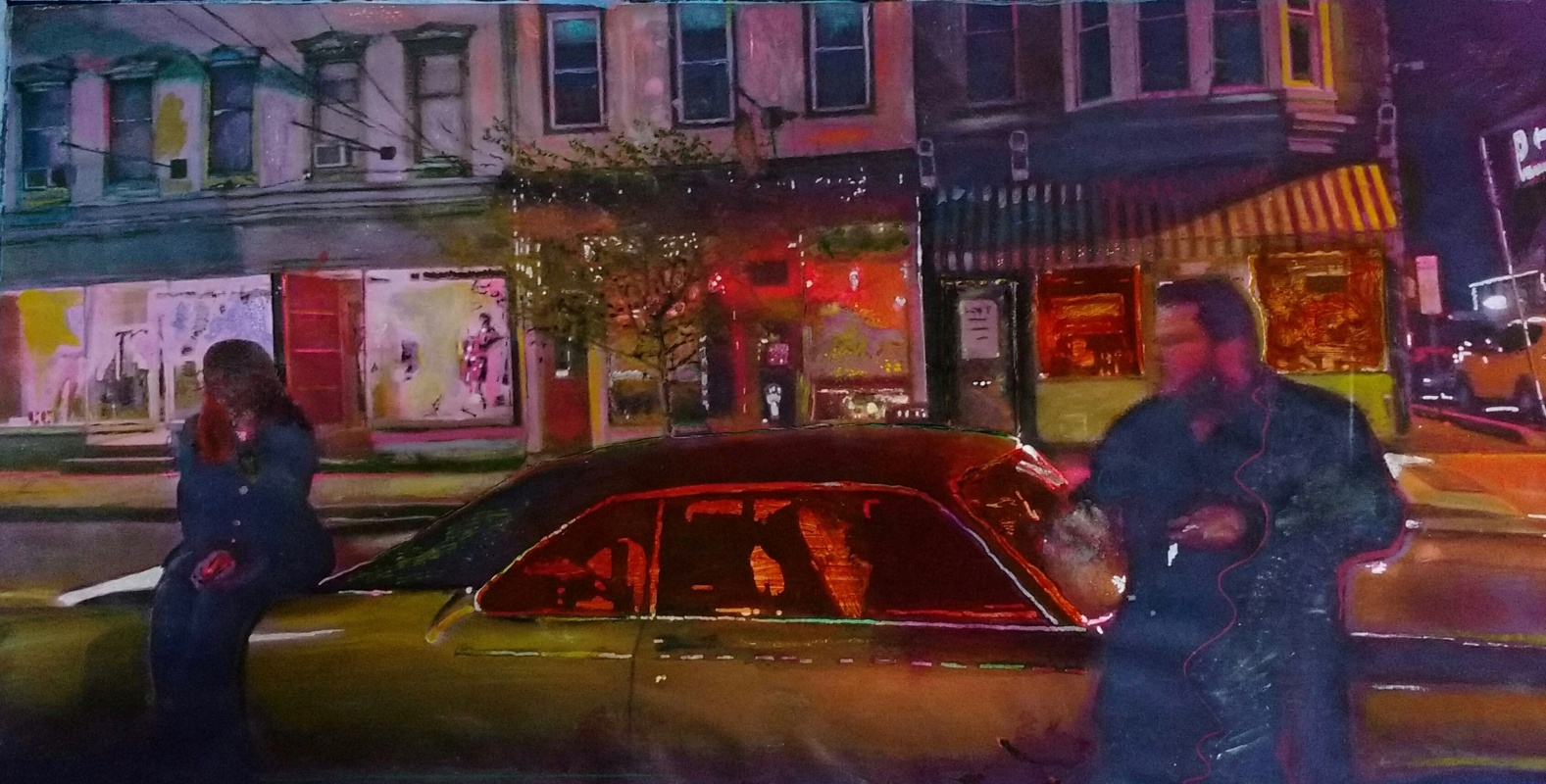 "Josepha Gutelius, ""Partition Street"" 2017. Acrylic on canvas, 44"" x 26"""