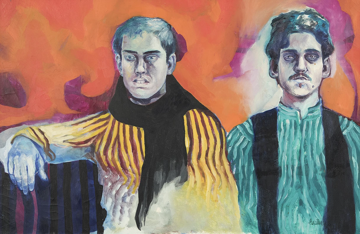 Wayne and Adrian by Phil Paratore - Oil on canvas, 24x38 inches - 1963