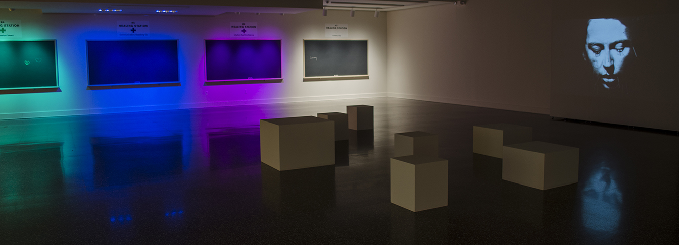 Installation view of Linda Mary Montano: The Art/Life Hospital at The Dorsky Museum. Photo by Bob Wagner.