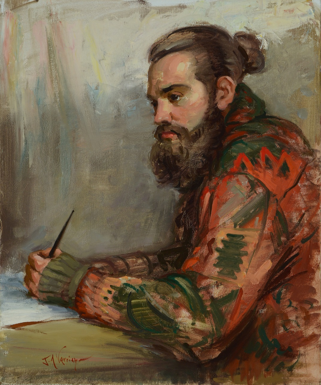 "John A. Varriano, The Poet. Oil on canvas, 24"" x 20""."