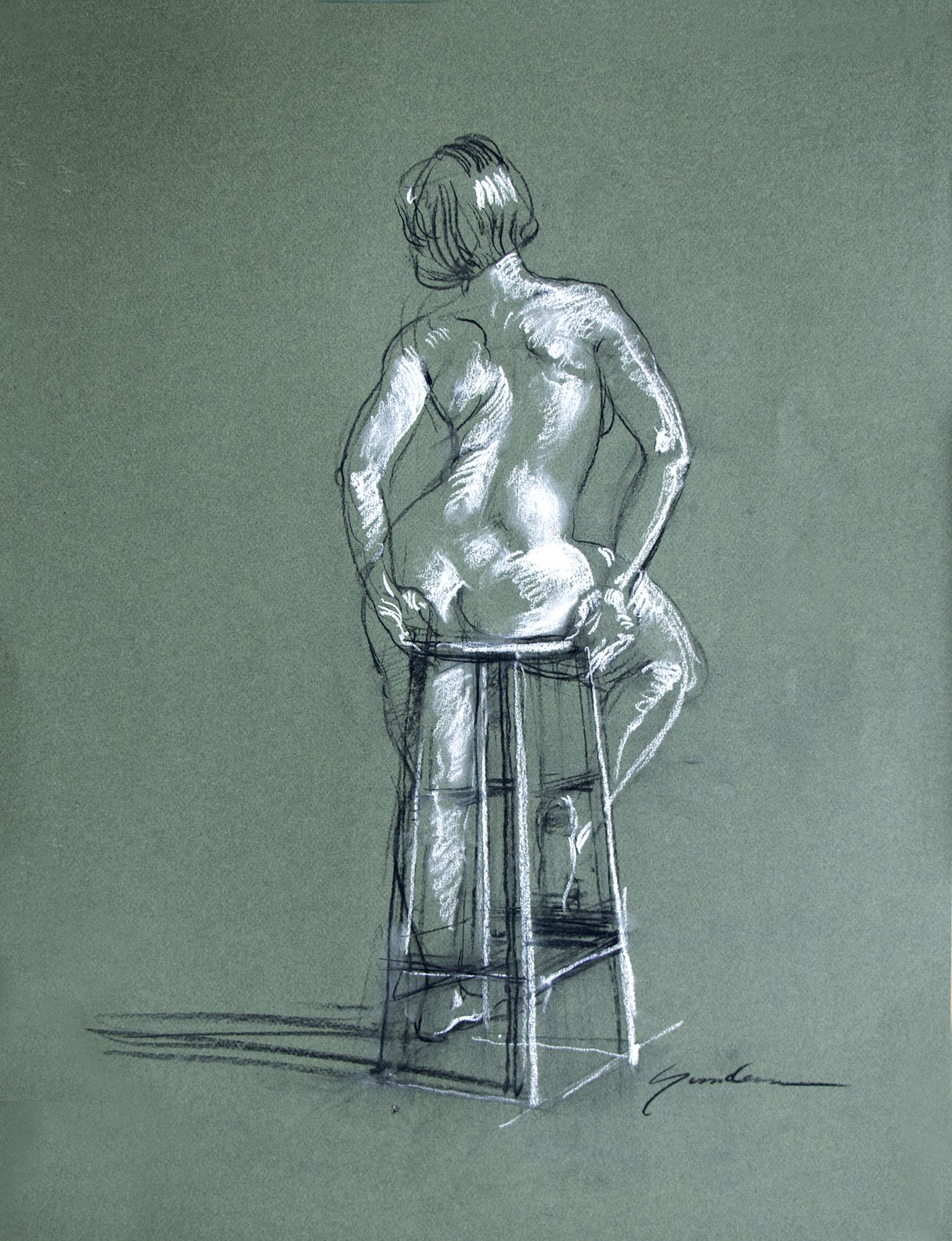 "Keith Gunderson, Seated nude from the back. Charcoal and pastel on Canson Mi-Teintes paper, 25"" x 15"""