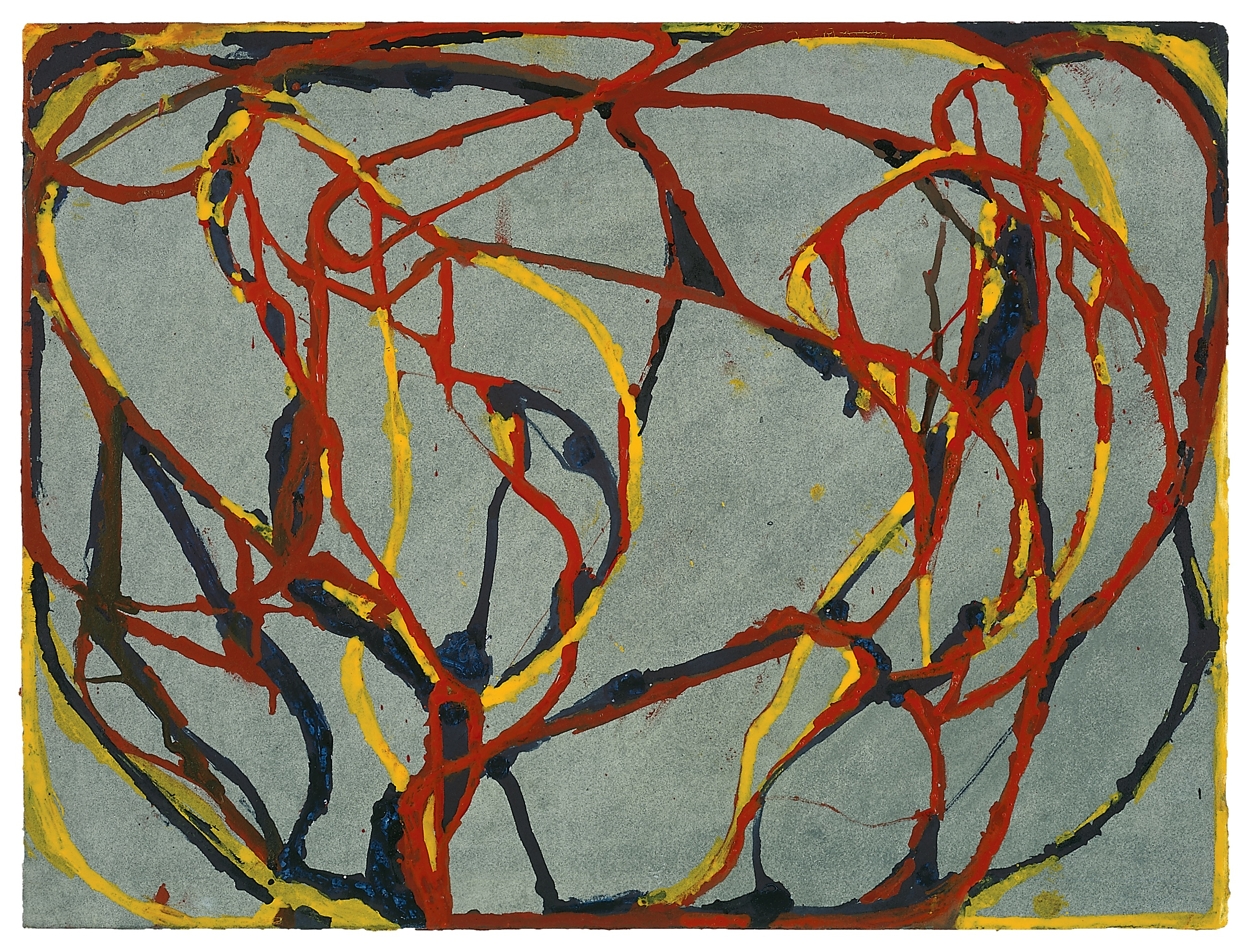 """2 Red Rocks 5 ""(2000/2002), Kremer inks on Lanaquarelle paper, 15 x 20 inches. © 2019 Brice Marden/Artists Rights Society (ARS) New York. Photography by Bill Jacobson, 2002"