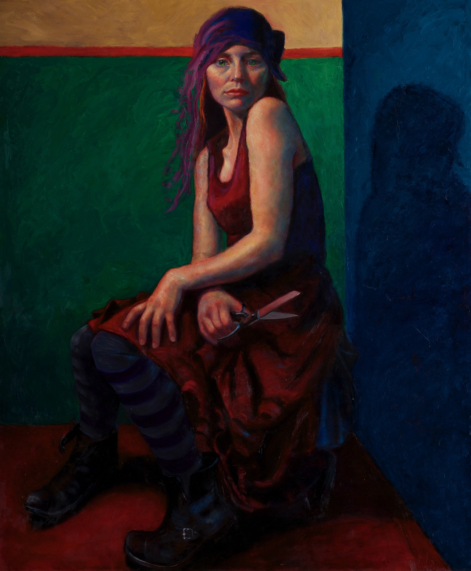 "Eddi Fleming, Tiny Dancer. Oil on board, 48"" x 40""."