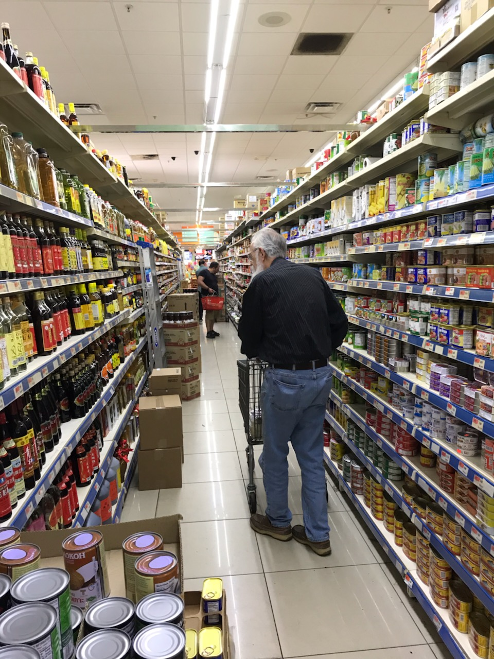 A shopper navigating one of 8 massive aisles.