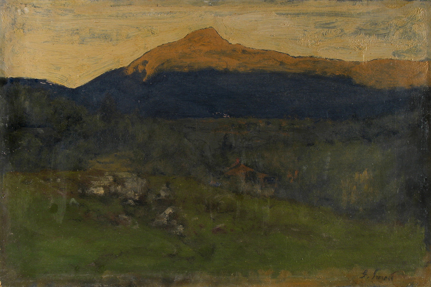 "George Inness, ""Keene Valley, Adirondacks,"" 1885, oil on board, Samuel Dorsky Museum of Art, gift of Elizabeth Koppitz"