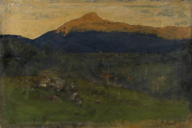 "George Inness, ""Keene Valley, Adirondacks,"" 1885, oil on board, Samuel Dorsky Museum of Art, gift of Elizabeth Koppitz"