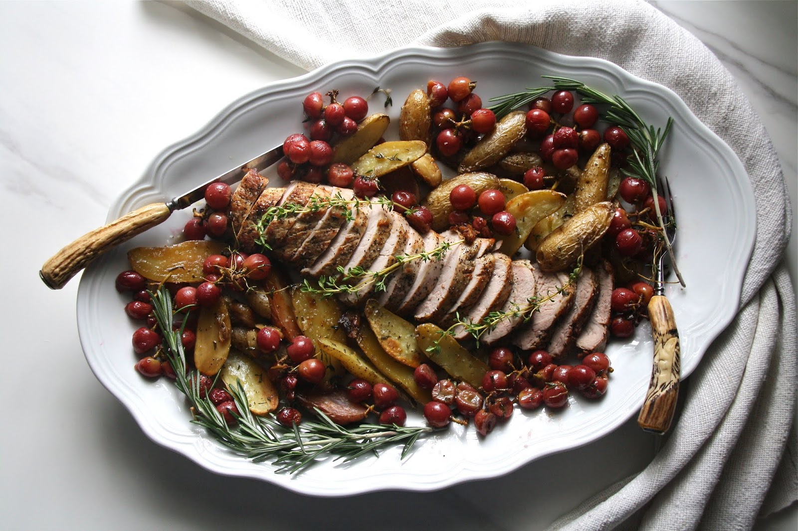 Roasted Pork with Herbs and Grapes